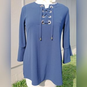 Charter Club Navy Blue Tunic Lace Up Bell Sleeve